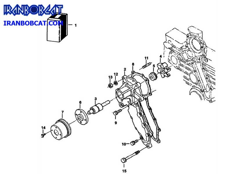 خرابی و تعویض واتر پمپ مینی لودر بابکت Bobcat S130