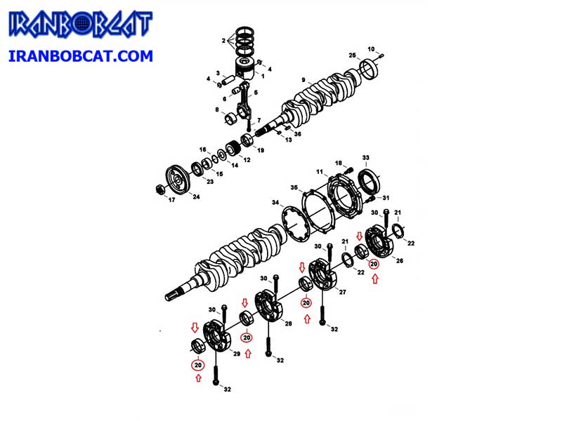 تعمیر یاتاقان ثابت و متحرک مینی لودر بابکت Bobcat S250