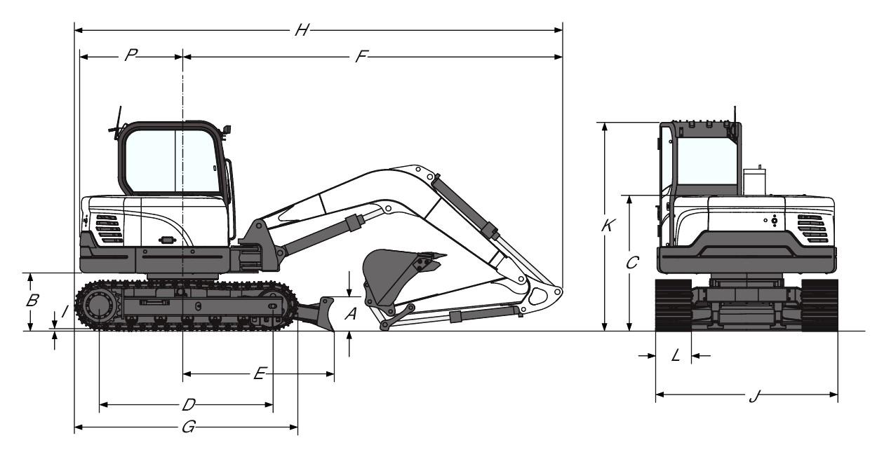 ابعاد مینی بیل مکانیکی بابکت Bobcat E60