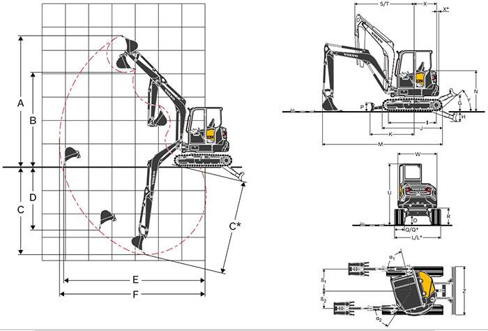 ابعاد بیل مکانیکی ولوو Volvo ECR50